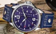 ■送料込■新品♪Currenミリタリークロノ腕時計★日週表示ブルー