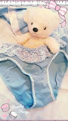 blueレースフリフリ姫パンティ