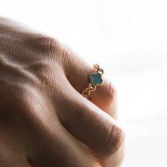 小クロス型ターコイズチャーム サンド 3ミリ リング/指輪