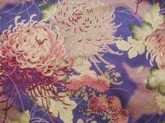 和風柄 薄紫菊柄50×110