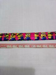 【伸縮】約16mm巾 ピンク色ミニオン柄ゴム リボン1M
