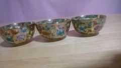 京焼き金色磁器花蝶絵金蘭手杯3個