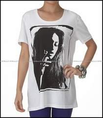 SLYスライ★smoking girl ルーズ半袖Tシャツ1★白ホワイト
