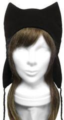 ハンドメイド◆シンプル 耳あて付ネコ耳帽子◆コットンニット/黒