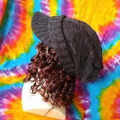 男女兼用♪つば付き厚手ニット帽子■ブロックチェック織り†