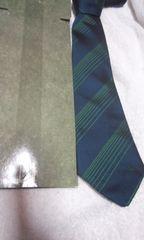 ダンヒル ネクタイ  紺に緑の細線