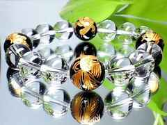 金彫四神獣黒瑪瑙高級天然水晶AAA数珠