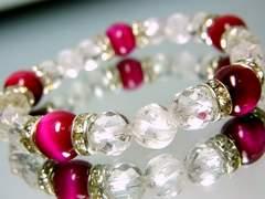 ピンクタイガーアイ10ミリ§ダイヤカット&スクリュー螺旋水晶8ミリ§銀ロンデル