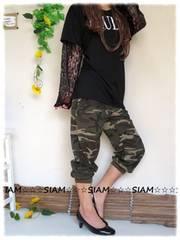 秋新作☆大きいサイズ☆3L迷彩柄☆腰ゴム裾リブ☆カーゴパンツ