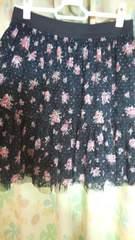 黒レース花柄スカート Lサイズ
