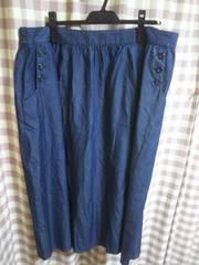 ★オシャレデザイン スカート 大きめ タップリ ウエスト 102�a ストレッチ有 デニム系●