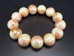 希少天然モザイクシェルピンク&ミルキーホワイト大玉16ミリ数珠