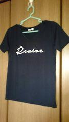 Tシャツ*黒/ブラック*ロゴ*Vネック*M