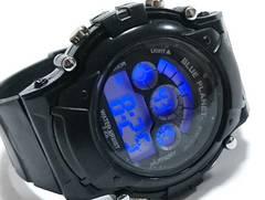 極美品★G-SHOCKのような大型 ALL BLACK デジタルクロノ腕時計