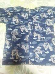 ☆新品=紺×雲龍和柄ダボシャツ130