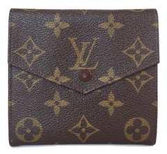 正規ルイヴィトンモノグラム財布Wホック両面M61660旧型二つ折りポルトモネビエ
