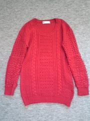 スライSLY無地赤変わり編みニットセーター(2)ロング新品