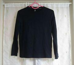 美品◆ユニクロ◆シンプルロンT*ブラック*150