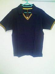 A-236★新品★半袖襟付きVネックシャツ ネイビー L