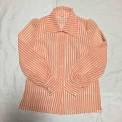 シースルー オレンジ×ホワイト ストライプ 長袖シャツ