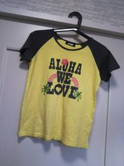 ANAP★M サーフ系ラグラン半袖Tシャツ チャコールブラウン黄色