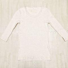 【used】コットン丸首7分袖Tシャツ/M/ライトベージュ杢/HONEYS