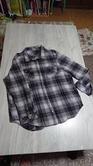 ◆グレー系チェック スナップボタンシャツ 3L