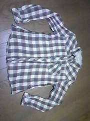 長袖シャツ/茶色チェック/Mサイズ→160サイズ同等