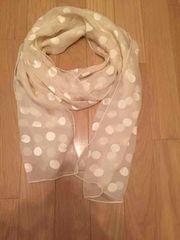 水玉 透けロングスカーフ ホワイト