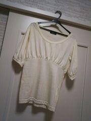 M 五分袖ふんわりパフスリーブTシャツ カットソー ホワイト白