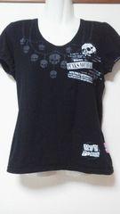 美品前後スカルプリントパフ袖Tシャツ