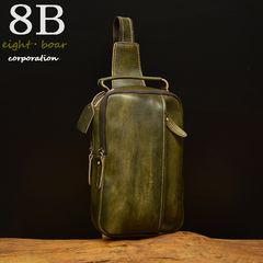 ◆ムラ染め系 木目風 ボディバッグ 斜め掛け メンズ 黒緑◆b47