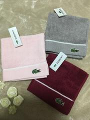 箱ありラコステLACOSTEタオルハンカチ3枚セット薄ピンク赤グレー