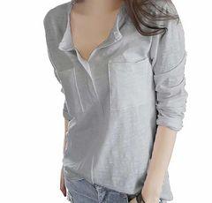 Vネック カットソー スキッパーシャツ (グレー、XLサイズ)