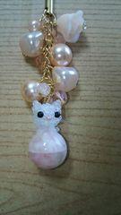 しろねこピンクストラップ オリジナル ハンドメイド 猫 ネコ