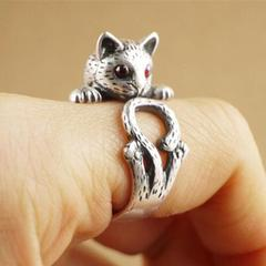 1円〜送料無料※フリーサイズ リング 13号〜23号 猫ルビー 指輪