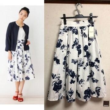 新品SOUPミディ丈洗える花柄スカート白×青Mオフホワイト浴衣風