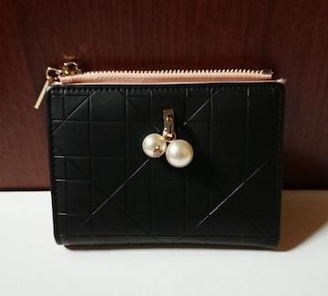 ピンク×ブラックバイカラーコインケース/二つ折り財布