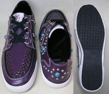 デットストック品 難有 ジョージコックススニーカー14203紫uk8