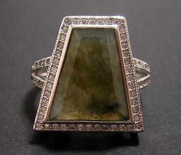 新品 天然ラブラドライト デザインリング 指輪 19号