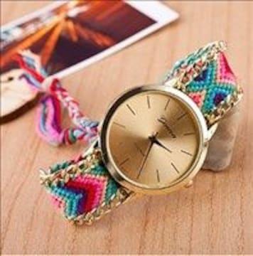 ★夏の定番★ ミサンガウォッチ 腕時計 アナログ 男女兼用