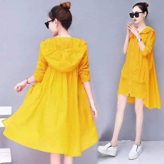 日焼け対策!! フード付きロングカーディガン(2XL寸・ブルー) < 女性ファッションの