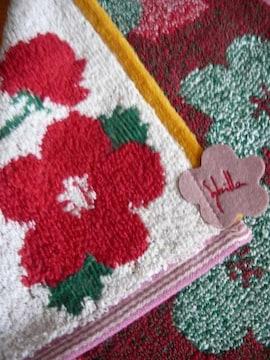シビラタオルハンカチお花柄アイボリー地