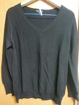 INDIVI昨季美品黒長袖Vネックニットセーター大きいサイズ4413号15号