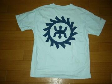 WTAPSダブルタップスTシャツM和柄ロゴ水色系エンブレム
