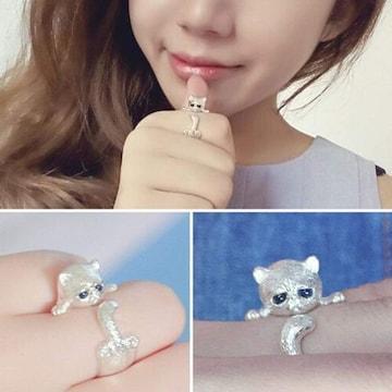 超目玉290円★超人気 キラキラ猫ちゃんファッションリング 指輪
