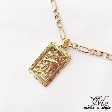 豚 ブタ ぶた フィガロ チェーン 金ゴールド GOLD ネックレス611