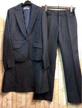 新品☆9号スーツセット紺系パンツ・スカートお仕事オフィス☆j355