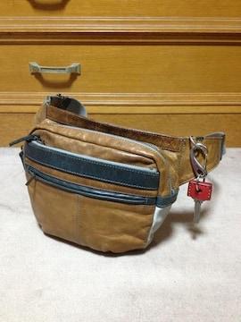 マスターピース レザー ショルダー ウエストバッグ 革鞄 茶×緑 日本製 ポーター 古着