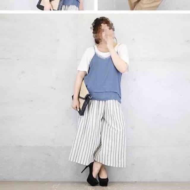 大きいサイズ3L・ゆったりシルエット重ねデザインキャミソール < 女性ファッションの